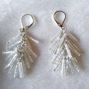 Jewelry - White iridescent glass bead fringe dangle earrings
